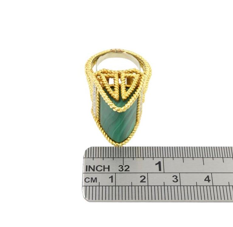 Malachite Modernist Ring 18 Karat For Sale 1