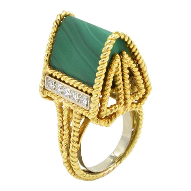 Malachite Modernist Ring 18 Karat For Sale