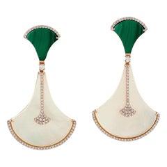 Malachite Mother of Pearl Diamond 18 Karat Gold Earrings