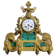 Malachite Mounted Mantel Clock, French, circa 1850
