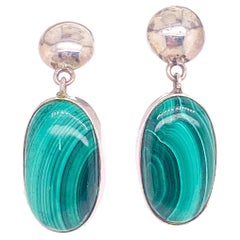 Malachite Oval Drop Earrings w Sterling Silver Ball Post, Green Malachite