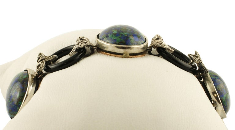 Retro Malachite Ovals, Onyx Rings, Diamonds, 9 Karat Rose Gold and Silver Bracelet For Sale