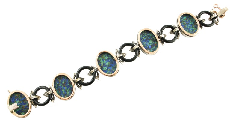 Malachite Ovals, Onyx Rings, Diamonds, 9 Karat Rose Gold and Silver Bracelet In Excellent Condition For Sale In Marcianise, Caserta