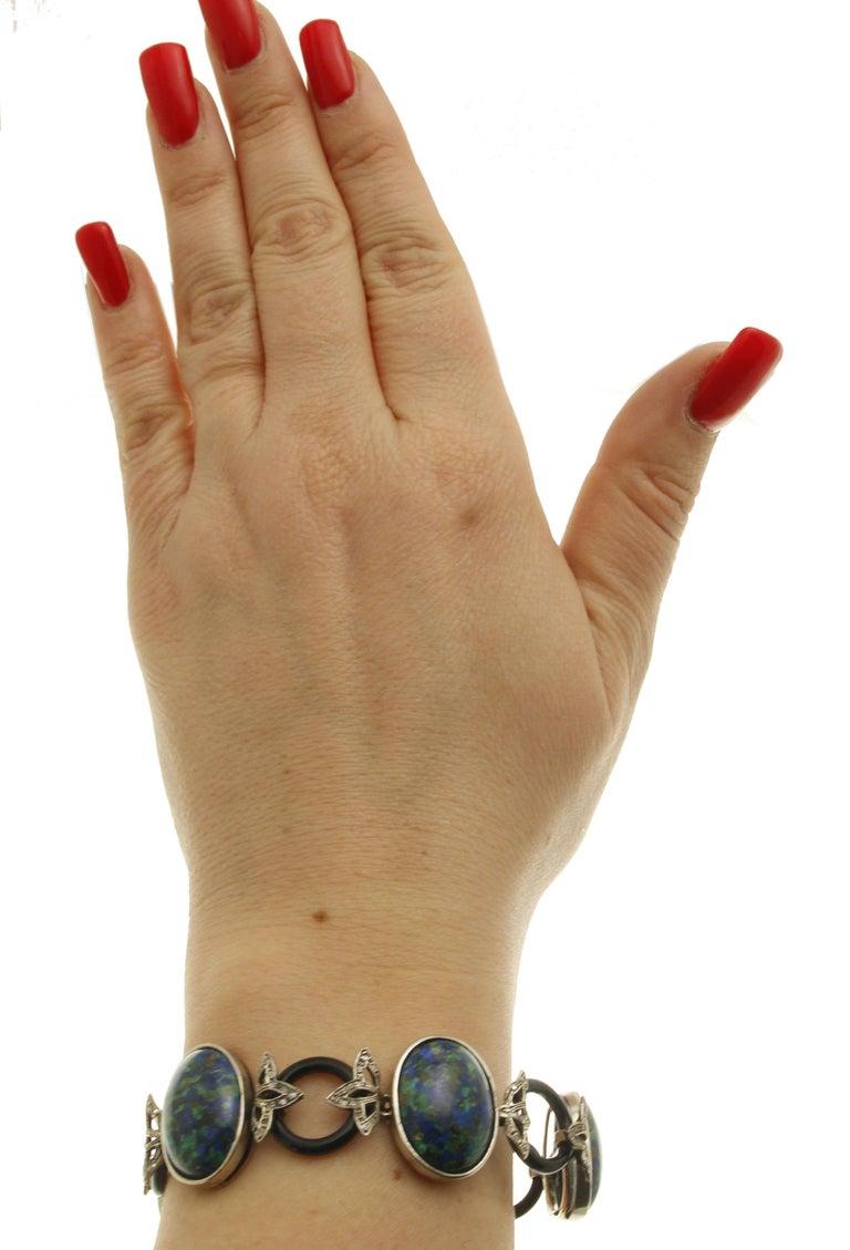 Women's Malachite Ovals, Onyx Rings, Diamonds, 9 Karat Rose Gold and Silver Bracelet For Sale