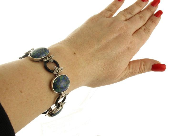 Malachite Ovals, Onyx Rings, Diamonds, 9 Karat Rose Gold and Silver Bracelet For Sale 1