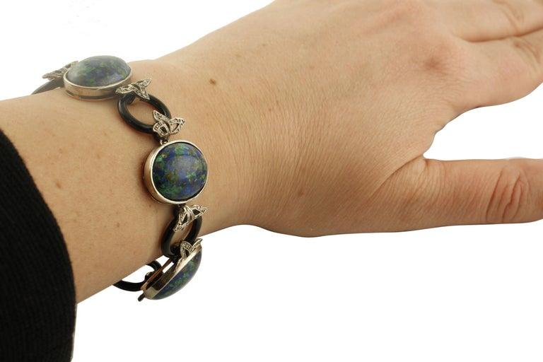 Malachite Ovals, Onyx Rings, Diamonds, 9 Karat Rose Gold and Silver Bracelet For Sale 2