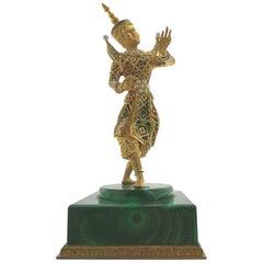 Malachite Pearl 18 Karat Yellow Gold Sculpture
