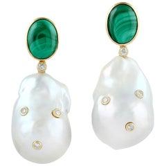 Malachite Pearl Diamond 18 Karat Gold Earrings