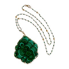Malachite Pendant Satellite Malachite Chain Necklace, Melia Necklace