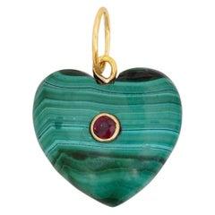 Malachite Ruby 14 Karat Gold Heart Charm Pendant Necklace