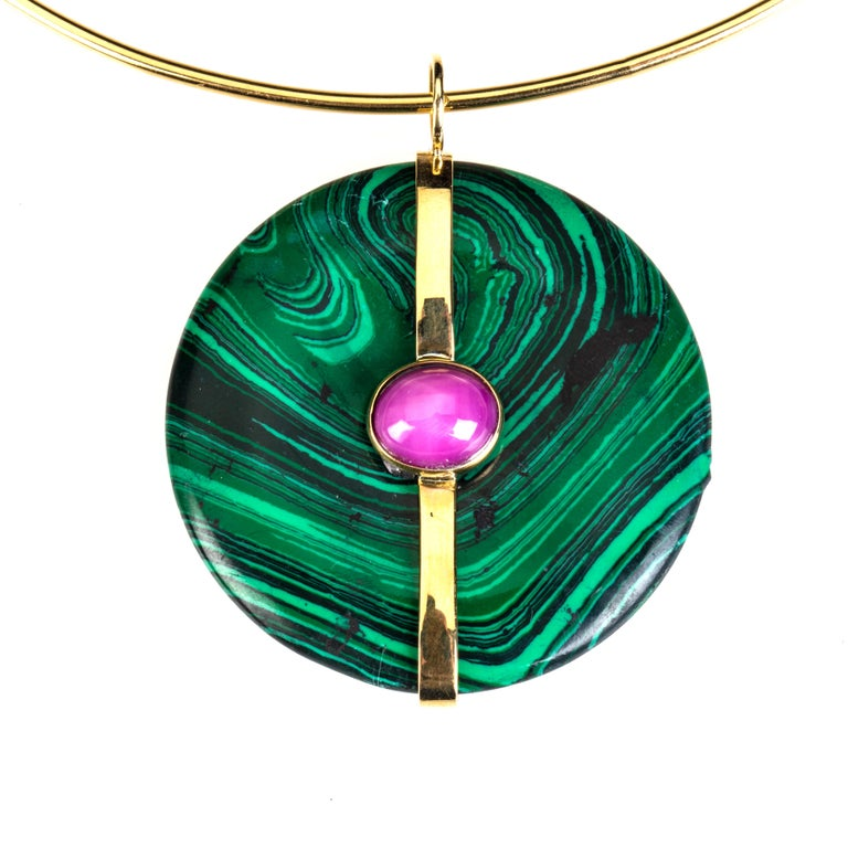 Malachite bi, 18 k gold gr 12, star Ruby pendant, we delivered with a silk string but is available on request also a gold necklace as in the pictures. All Giulia Colussi jewelry is new and has never been previously owned or worn. Each item will