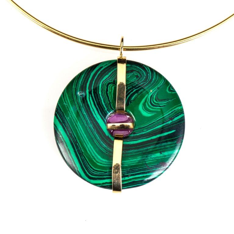 Artisan Malachite Ruby Gold Pendant For Sale