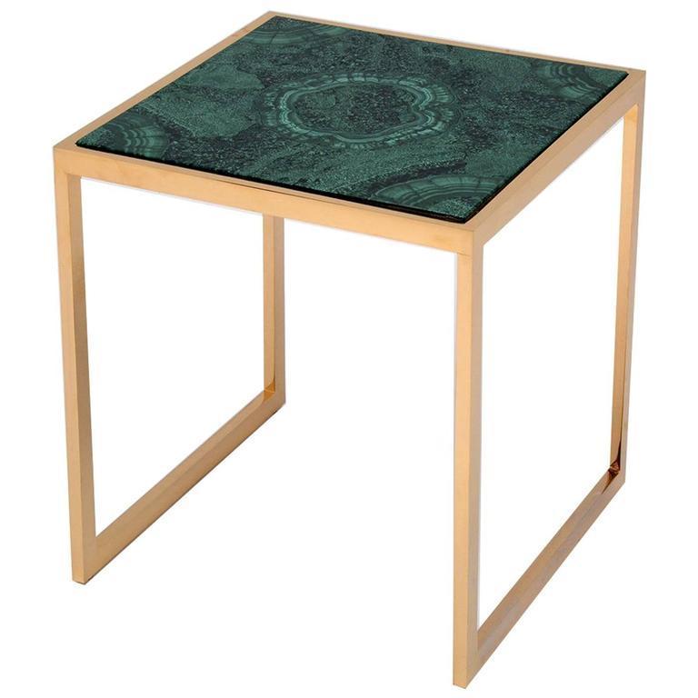 Italian Malachite Side Table For Sale