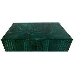 Malachite Table Box with Sterling Hinge, Italy, 1950s