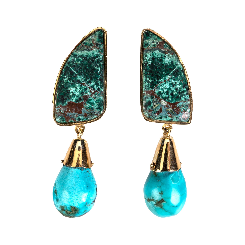 Malachite, Turquoise 18k Gold Earrings