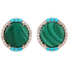 Malachite Turquoise Diamond 18 Karat Gold Stud Earrings