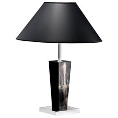 Malak Tavolo Table Lamp in Dark Horn and Wood by Arcahorn