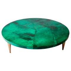 Malakite Goatskin Round Coffee Table