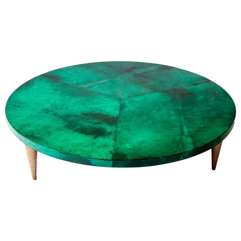 Malakite Goatskin Round Coffee Table For Sale At 1stdibs