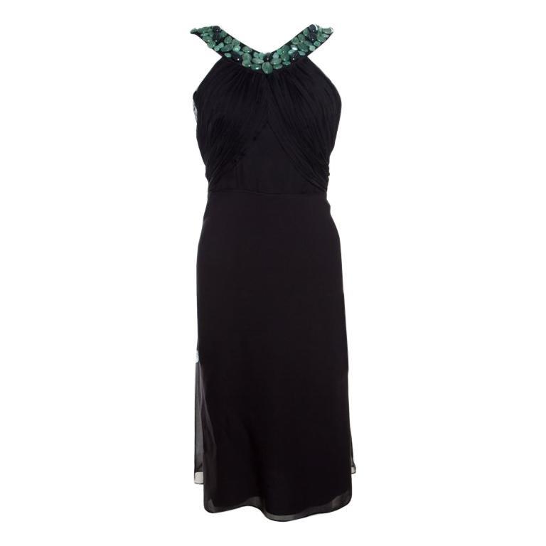 c53da2e8631c6 Malandrino schwarz Seide Plissee Mieder Detail verschönert ärmellose eine  Linie Kleid M 1