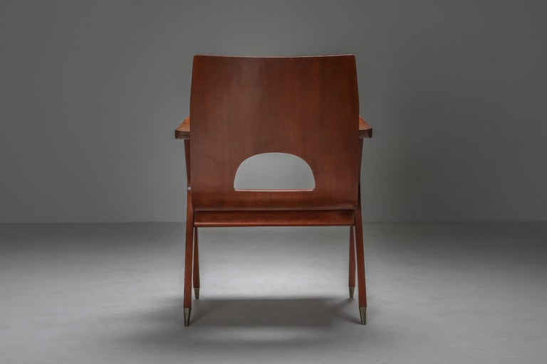 Brass Malatesta and Mason Armchair by Ico Parisi For Sale