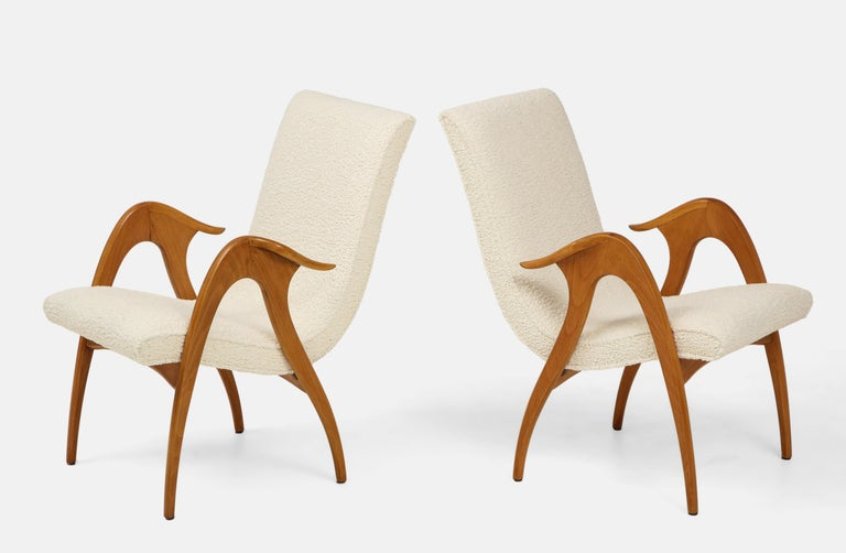 Italian Malatesta and Mason Pair of Sculptural Armchairs For Sale