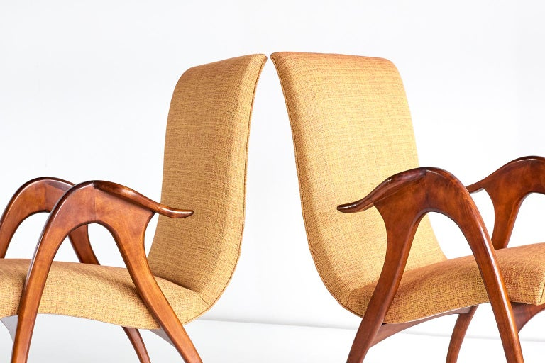 Malatesta and Mason Pair of Sculptural Armchairs in Walnut, Italy, Early 1950s For Sale 4