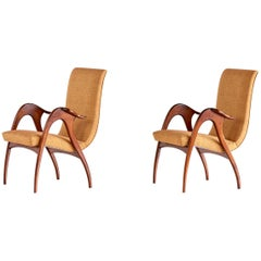 Malatesta and Mason Pair of Sculptural Armchairs in Walnut, Italy, Early 1950s