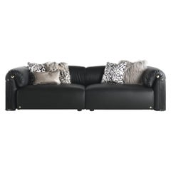 Malawi Modular Sofa in Black Leather by Roberto Cavalli