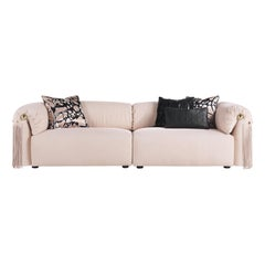 Malawi Modular Sofa in Light Pink Leather by Roberto Cavalli Home Interiors