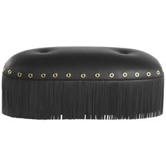 Malawi Small Pouf in Black Leather by Roberto Cavalli