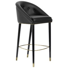 Malay Bar Chair in Velvet with Aged Brass Details