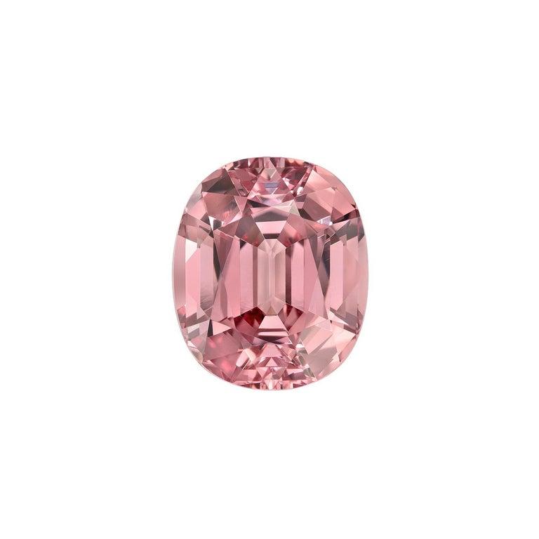 Contemporary Pink Malaya Garnet Ring Gem 6.69 Carat Oval Loose Gemstone For Sale