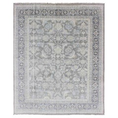 Malayer Design Rug in Gray, Silver, Light Blue and Charcoal with All-Over Design