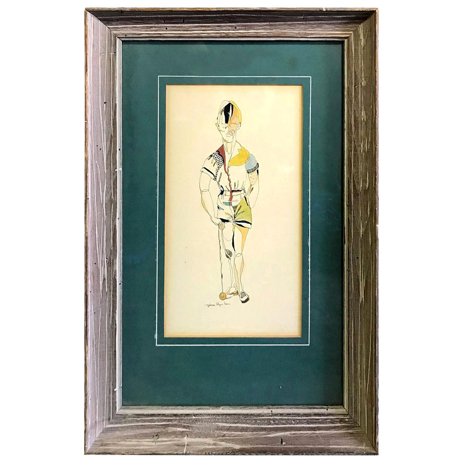 Malcolm Edgar Case Signed Original Water Color and Ink on Paper
