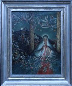Madonna and Child - British art 1950's religious portrait oil painting landscape