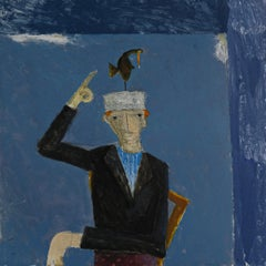 A Bird Landed on Francis' Head, mixed media portrait of man and bird, blue
