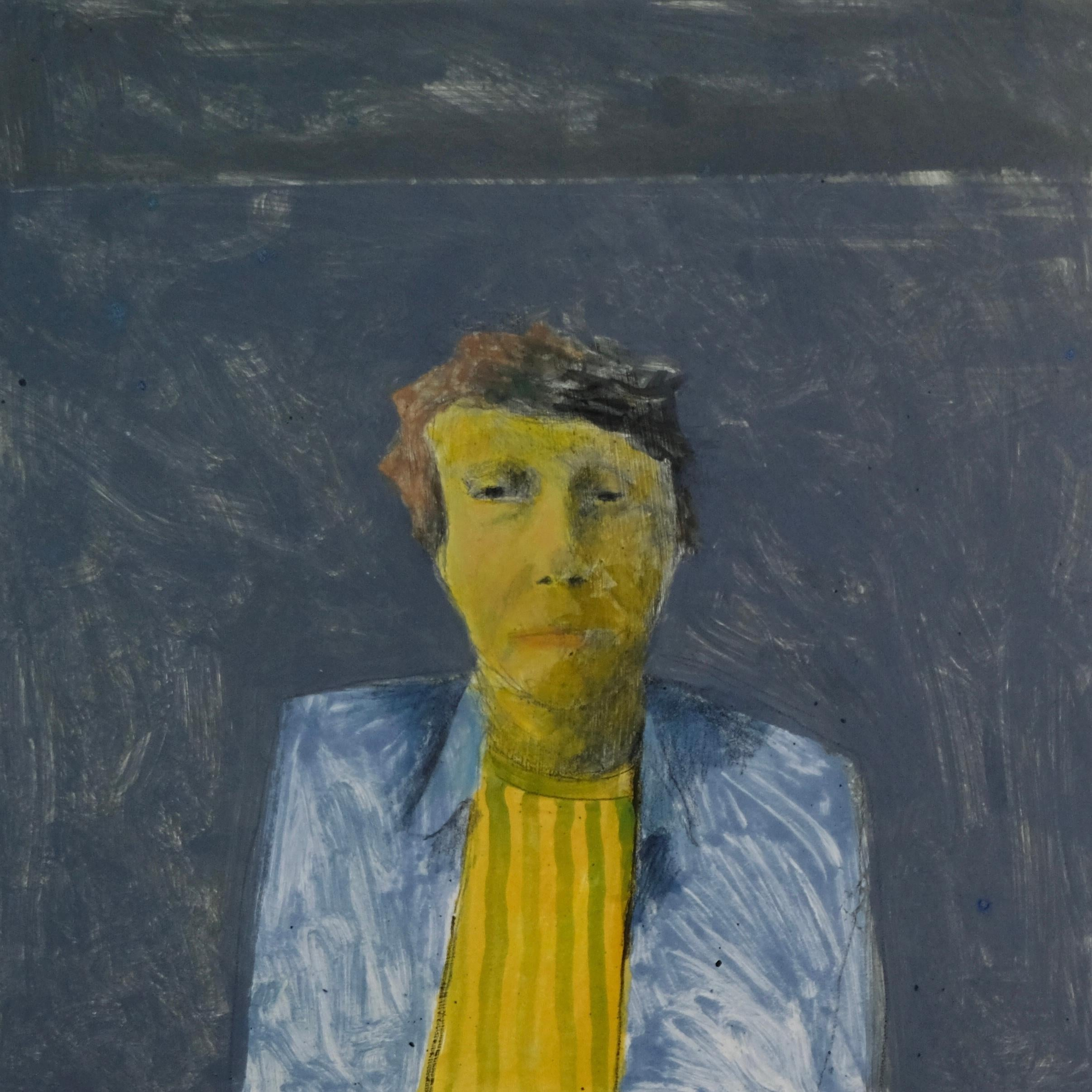 Alexander Plots the World, mixed media portrait of young man, yellow and blue