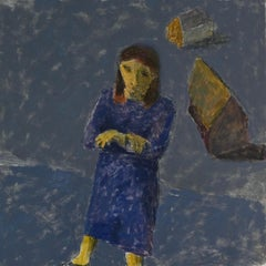 Catherine Moves from her Past, portrait of young woman, blue