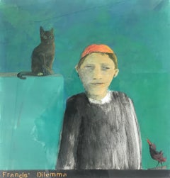 Francis' Dilemma, portrait of boy with cat and bird, green and orange
