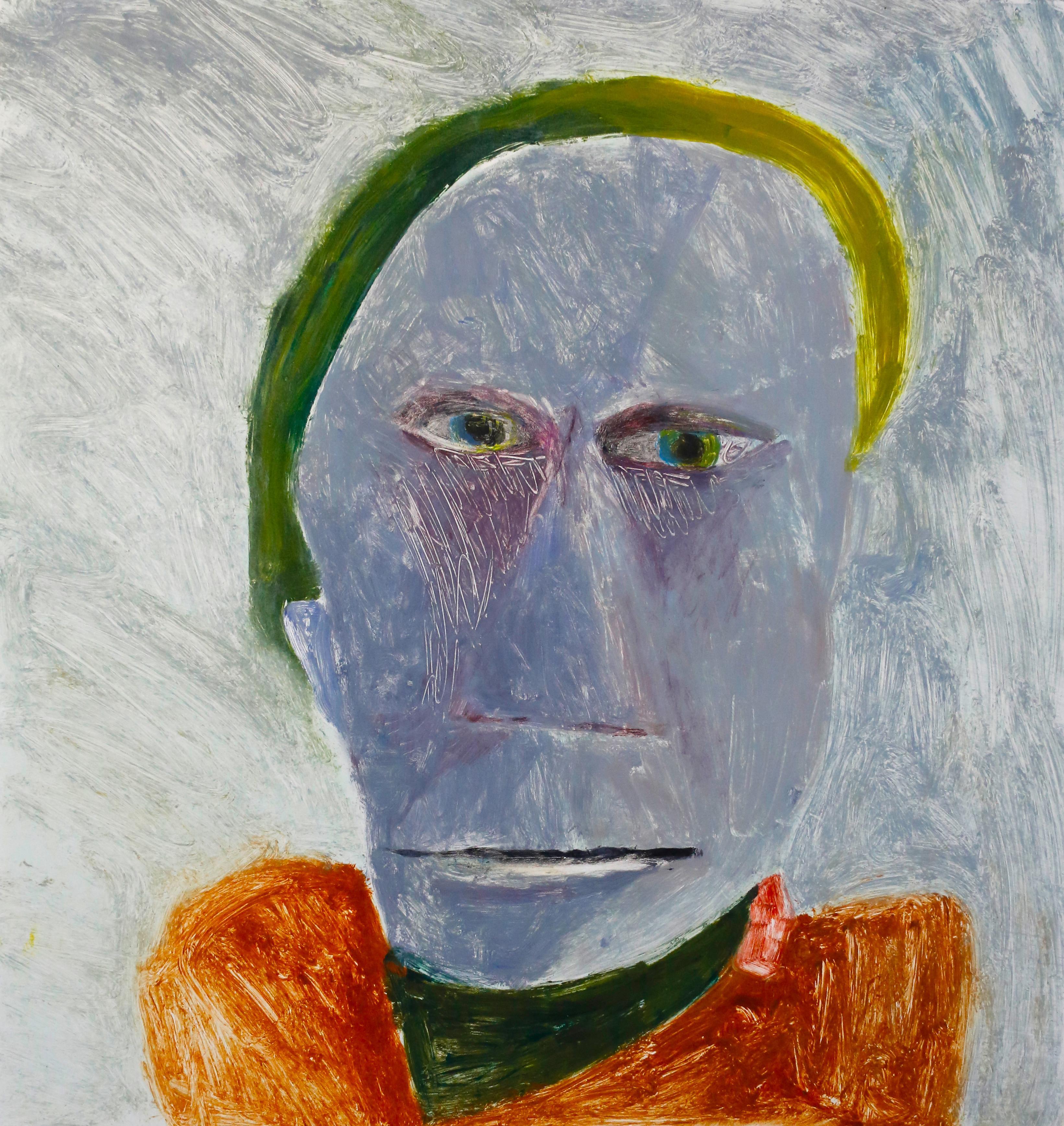 Saint Sebastian the Praetorian 2, mixed media portrait of man, orange and blue
