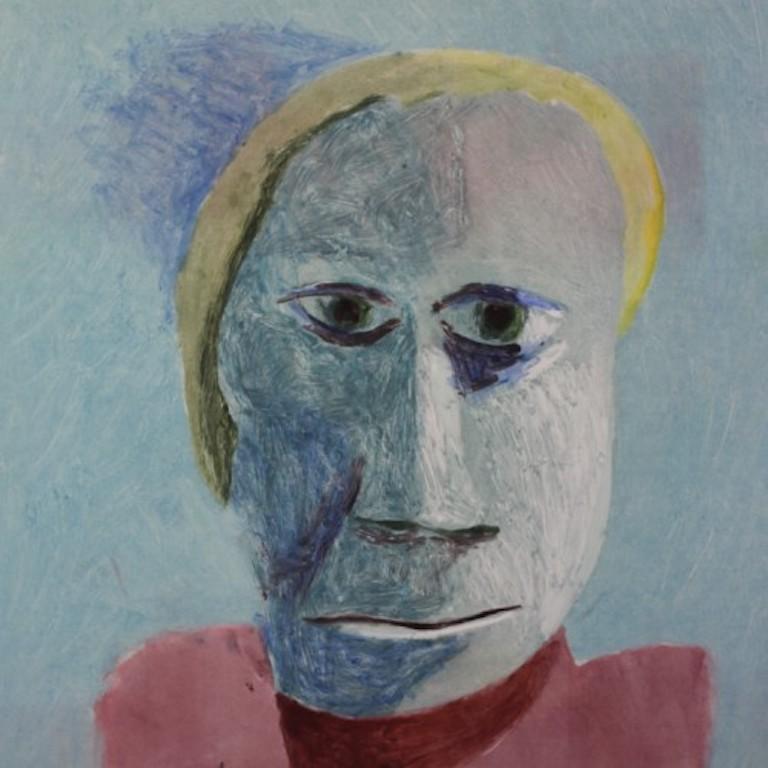 Malcolm Moran Portrait Painting - Saint Sebastian the Praetorian, mixed media portrait of man, blue and pink