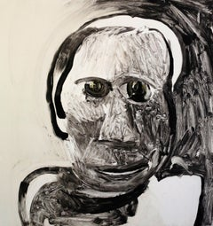 Saint Selina, black and white portrait of woman, mixed media painting