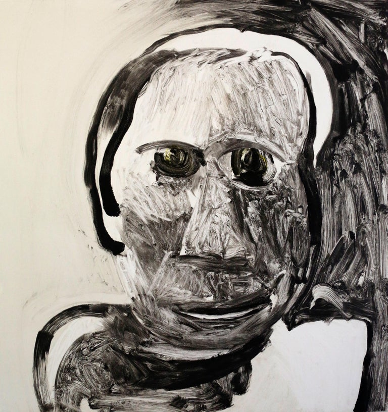 Malcolm Moran Portrait Painting - Saint Selina, black and white portrait of woman, mixed media painting