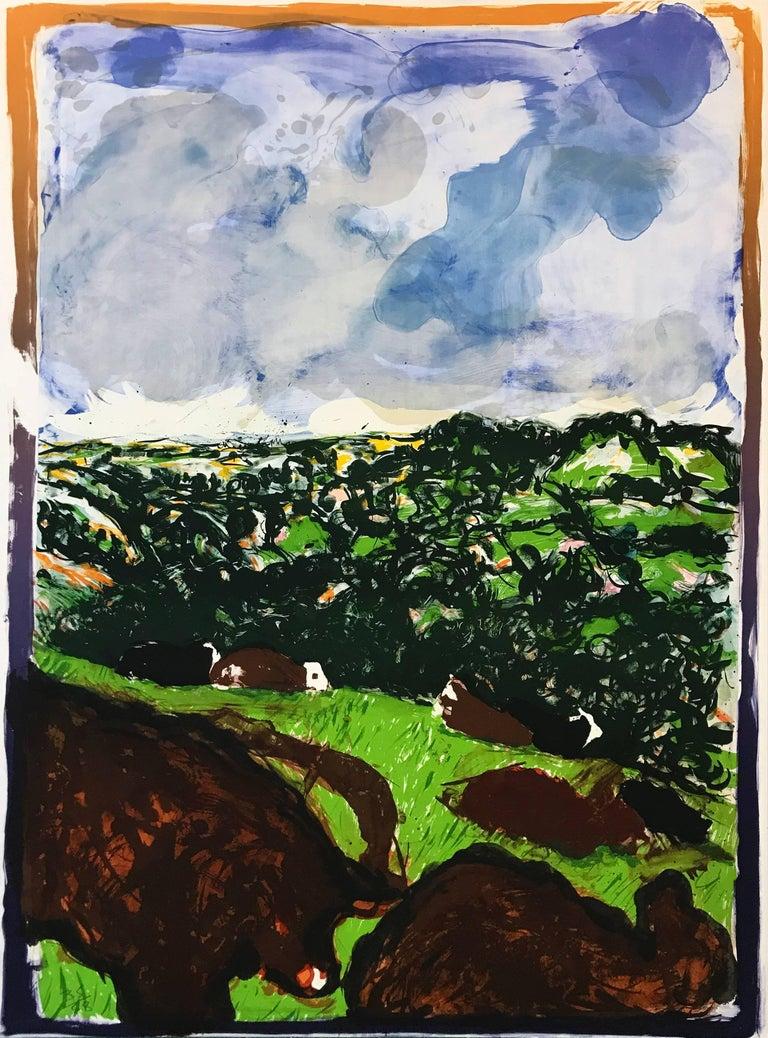 Malcolm Morley Landscape Print - DEVONSHIRE BULLOCKS