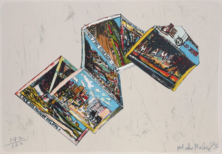 Artist: Malcolm Morley, British (1931 - 2018) Title: Postcards from Miami Year: 1973 Medium: Lithograph, signed and numbered in pencil Edition: 142/150 Size: 23 x 33 in. (58.42 x 83.82 cm)