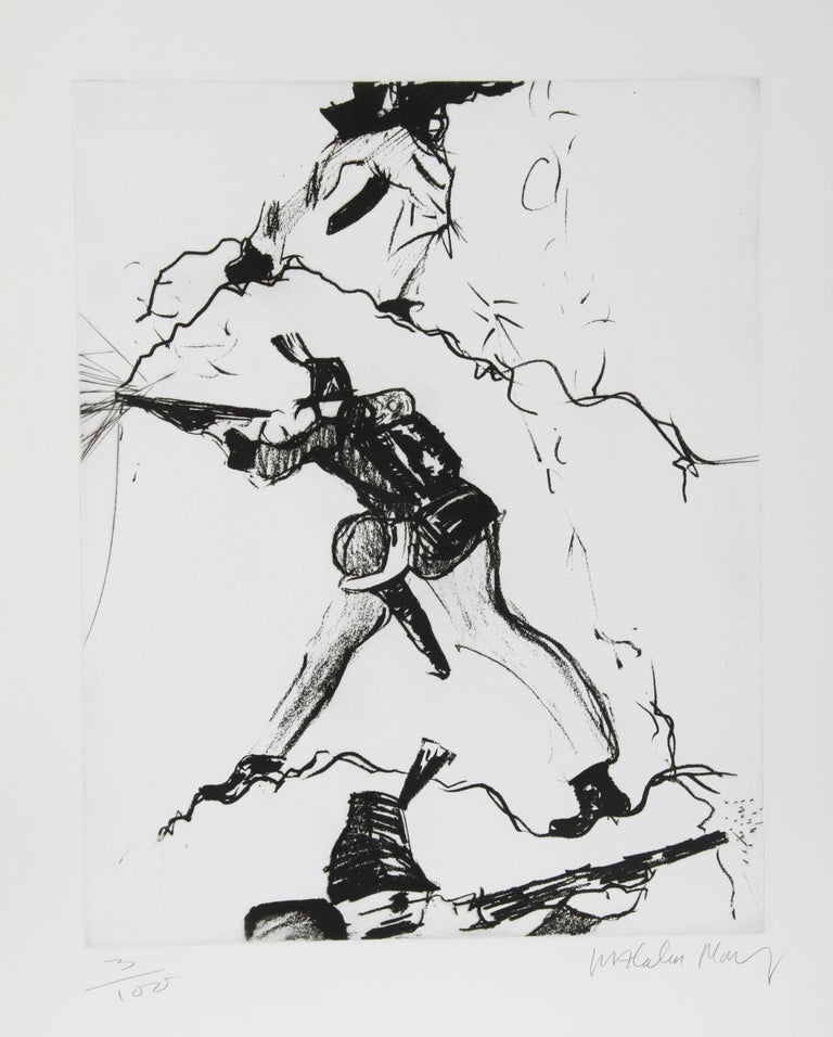 Artist: Malcolm Morley, British (1931 - 2018) Title: Soldier Year: Circa 1980 Medium: Etching, signed and numbered in pencil Edition: 100 Image Size: 22 x 18 inches Size: 30 in. x 22.5 in. (76.2 cm x 57.15 cm)