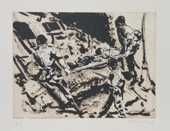 """""""Stretcher"""" Etching by Malcolm Morley"""