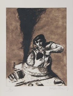 """""""Tank Commander"""" Etching by Malcolm Morley"""