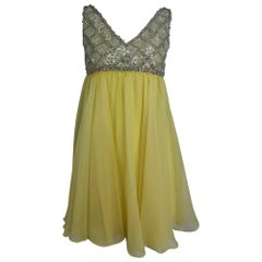 Malcolm Starr Baby Doll dress rhinestones and Lemon Chiffon Silk 1960s